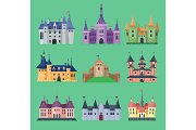 Cartoon fairy tale vector castle key-stone palace tower icon knight medieval architecture castle building illustration. Fantasy old fortress kingdom stronghold royal chess