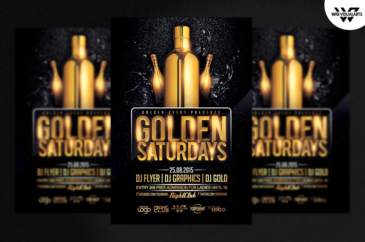 golden saturdays flyer template flyer templates creative market
