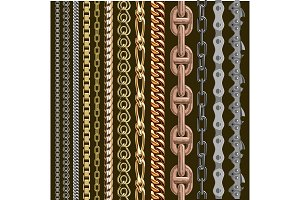 Chains link elements vector seamless metal chain-parts set isolated on background. Gold and silver metal chains link seamless elements