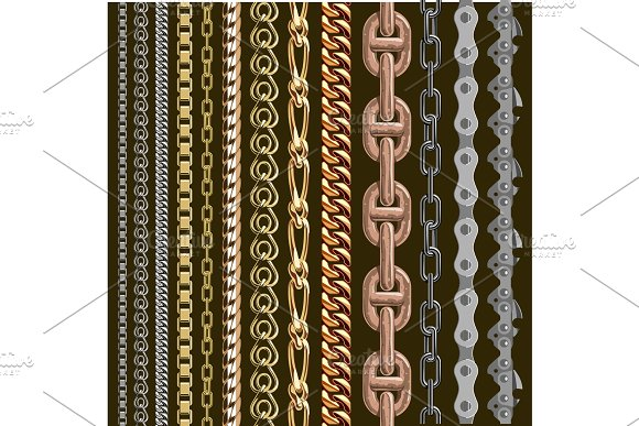 Chains Link Elements Vector Seamless Metal Chain-parts Set Isolated On Background Gold And Silver Metal Chains Link Seamless Elements