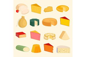 Vector cheese slices peace variety icons cartoon set isolated illustration. Dairy cheese varieties food and milk camembert. Different delicatessen gouda cheese mozzarella, tofu. parmesan