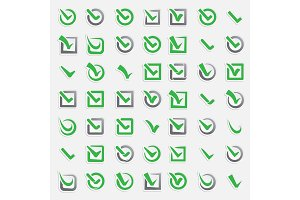 Checkbox vote marks vector icons set. Check vote sign choice yes symbol. Correct design right agreement voting form. Button question choose success UI-UX web design graphic