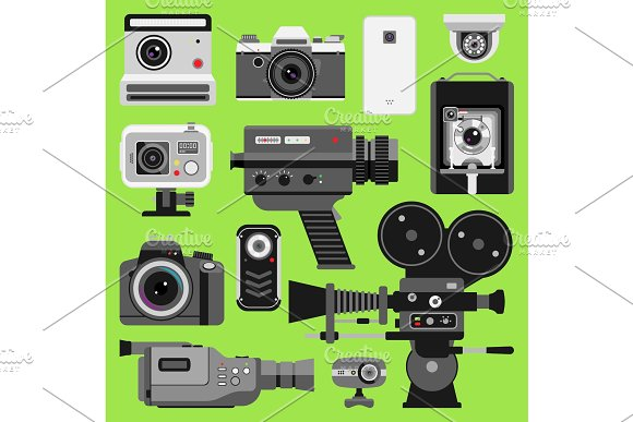 Photo video vector camera tools optic lenses set. Different types photo-objective retro video-equipment, professional movie film making technic. Digital vintage technology electronic cameras device in Illustrations