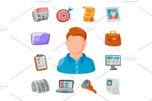 Vector Job Search Icon Set Office Concept Human Recruitment Employment Work Illustration