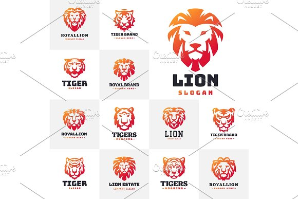 Tiger And Lions Face Logo Badge Strength Predator Power Wildcat Vector Illustration