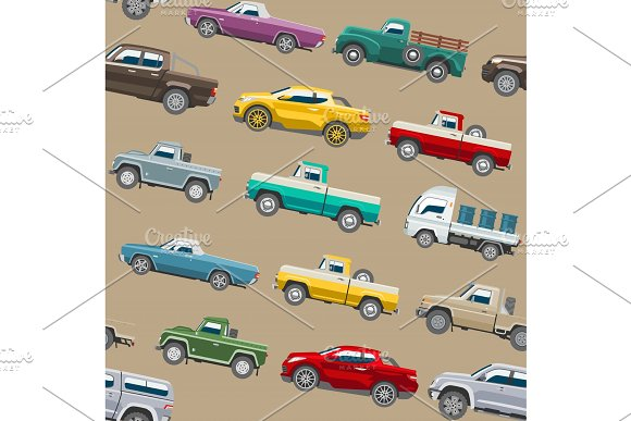 Pickup Car Vector Auto Delivery Transport Pick Up Offroad Automobile Vehicle Or Truck And Mockup Isolated Citycar Seamless Pattern Background