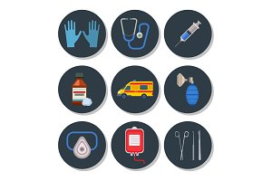 Ambulance icons vector medicine health emergency hospital symbols illustration.