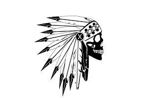 American Indian skull white