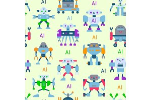 Robots vector cartoon robotic kids toy cute character monster or transformer cyborg robotics transform robotically seamless pattern background