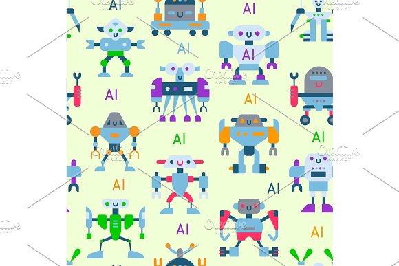 Robots Vector Cartoon Robotic Kids Toy Cute Character Monster Or Transformer Cyborg Robotics Transform Robotically Seamless Pattern Background