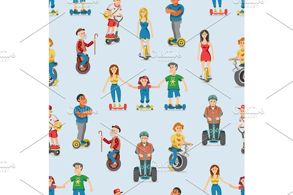 Vector People On Electric Transport Set Characters Driving Gyroscooter And Balancing Man On Electrical Monowheel Or Eco Balance Board Illustration Seamless Pattern Background