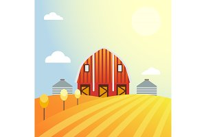 Farm agriculture banner rural landscape products old barn and field cartoon vector illustration.