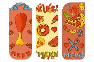 Kids organic menu hand drawn banner vector cartoon cute label cooking restaurant healthy fresh food.