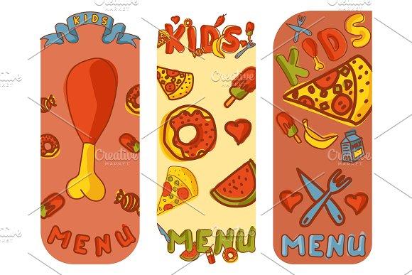 Kids Organic Menu Hand Drawn Banner Vector Cartoon Cute Label Cooking Restaurant Healthy Fresh Food