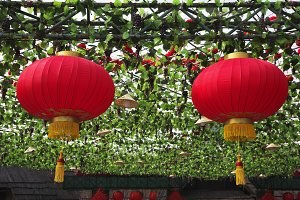 The traditional red lanterns