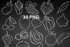 Chalkboard Fruit Vegetables Doodles