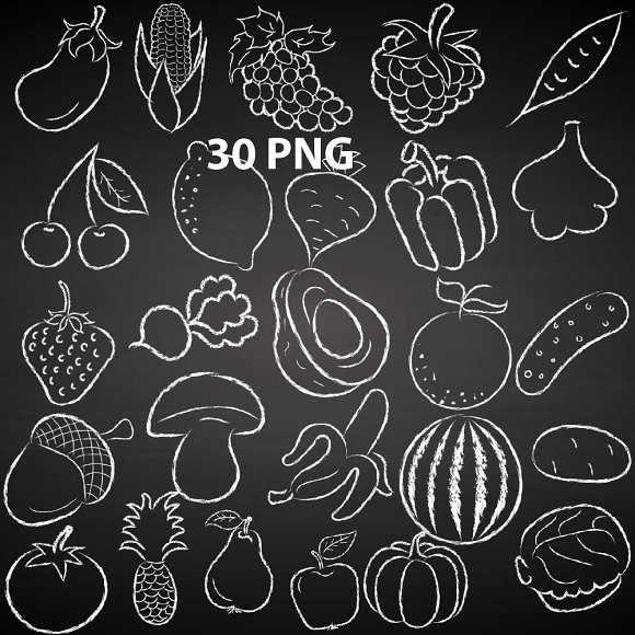 Chalkboard Fruit Vegetables Doodles