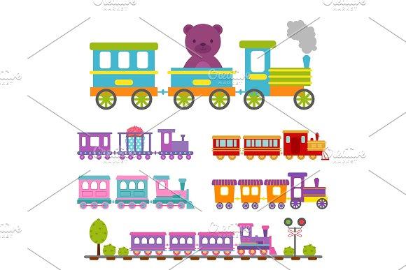Game Gift Kids Train Vector Travel Railroad Transportation Toy Locomotive Illustration