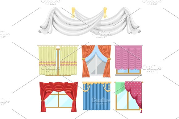 Window Curtains And Room Blinds Jalousie For House Or Creative Home Interior Vector Illustration