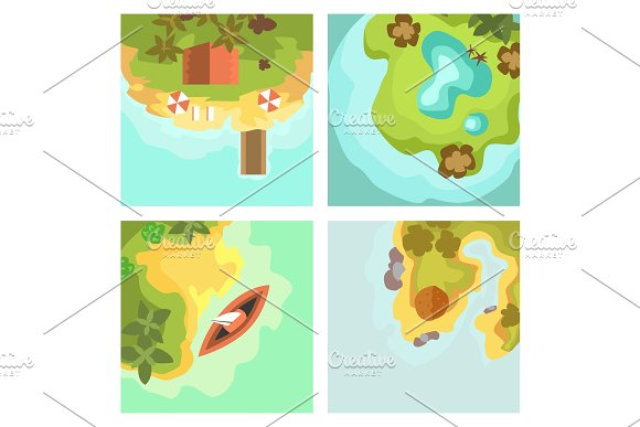 Cartoon Tropical Exotic Island In Ocean Top View Exotic Lagoon Map Caribbean Aerial Sprite Seascape Tourism Paradise Coast Vector Illustration
