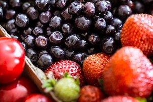fresh blueberries in a jar