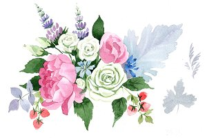 Wedding pink bouquet PNG watercolor