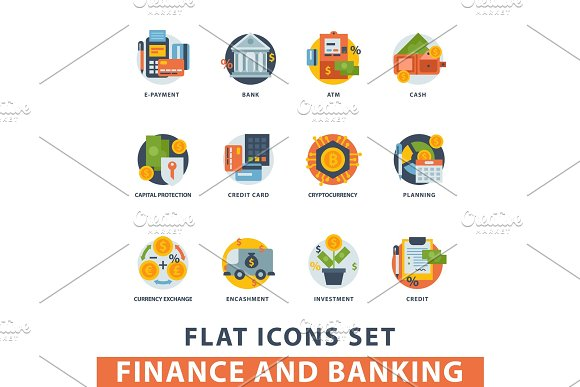 Money Finanse Vector Icons Banking Safety Business Currency Card Financial Deposit Bank Payment Illustration