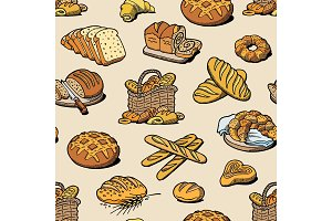 Bakery and bread vector baking breadstuff meal loaf or baguette baked by baker in bakehouse set illustration seamless pattern background