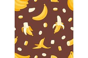 Banana set vector bananas products bread pancake or banana split with yellow banana illustration bananapeel seamless pattern background