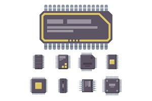 CPU microprocessors microchip vector illustration hardware component equipment.