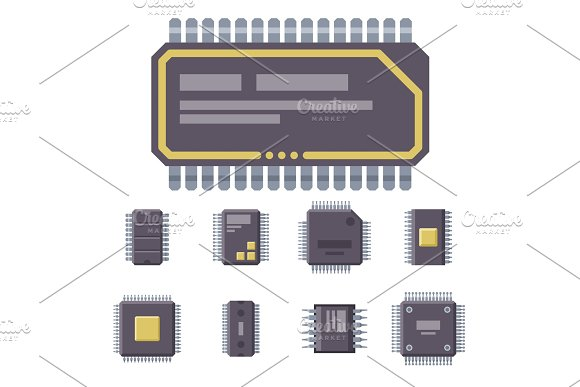 CPU Microprocessors Microchip Vector Illustration Hardware Component Equipment
