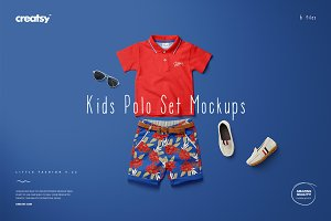 Kids Polo Set Mockup Set