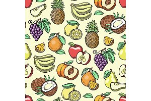 Fruits vector fruity apple banana and exotic papaya handmade sketch old retro vintage graphic style illustration. Fresh slices tropical dragonfruit or juicy orange fruitful seamless pattern background