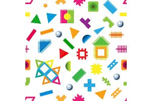 Kids building blocks toy vector baby colorful bricks to build or construct cute color construction in childroom illustration set of children blocks games seamless pattern background