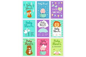 Baby shower design vector card cute woodland animals born arrival vector graphic. Party template vintage cute birth baby shower invitation. Welcome greeting baby shower invite decoration celebration.