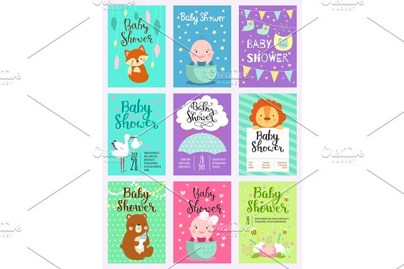 Baby Shower Design Vector Card Cute Woodland Animals Born Arrival Vector Graphic Party Template Vintage Cute Birth Baby Shower Invitation Welcome Greeting Baby Shower Invite Decoration Celebration