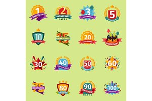 Happy Birthday anniversary vector numbers badge banner design flat background set. Birthday card invintation icons celebration emblem. Anniversary card happy birthday badges birth date sticker symbol.