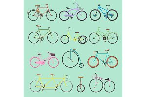 Retro bike vintage vector old-fashioned girls and hipster transport ride vehicle bicycles summer transportation for bikers sport modern street outdoor travel cycle illustration isolated on background