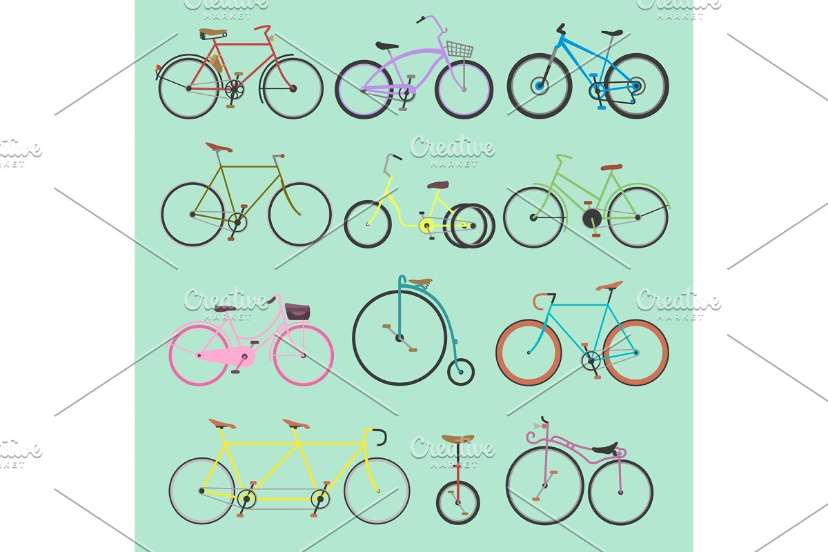 Retro bike vintage vector old-fashioned girls and hipster transport ride  vehicle bicycles summer transportation for bikers sport modern street  outdoor