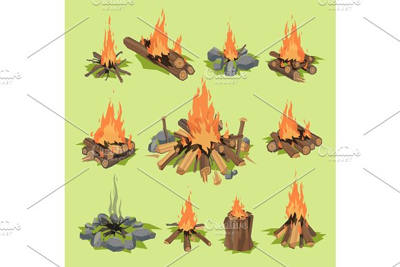 Fire Flame Or Firewood Outdoor Travel Bonfire Vector Fired Flaming Fireplace And Flammable Campfire Illustration Fiery Or Flamy Forest Set With Wildfire Isolated On Background