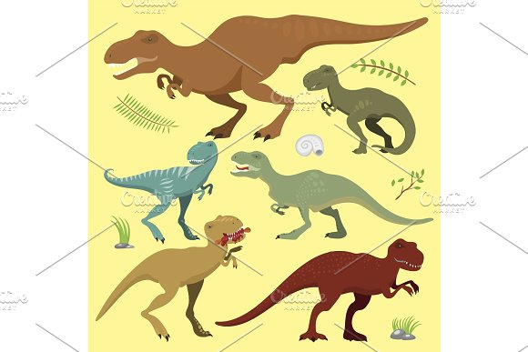 Scary Dinosaurs Vector Tyrannosaurus T-rex Danger Creature Force Wild Jurassic Predator Prehistoric Extinct Illustration