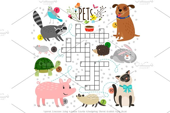 Kids Crosswords With Pets Children Crossing Word Search Puzzle With Pats Animals Like Cat And Dog Turtle And Hare