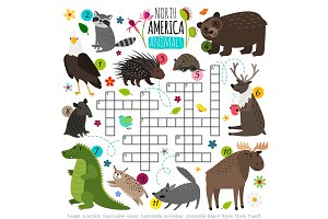 Animals crossword. Kids words brainteaser with north america animal set, word searching puzzle game