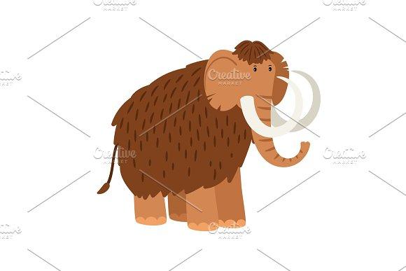 Cartoon Mammoth Isolated On White Background