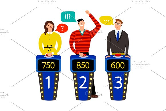 Quiz Show Answering People On Quiz Game Vector Illustration Gaming Show With Questions And Answers Standing Persons And Buttons On Buzzers