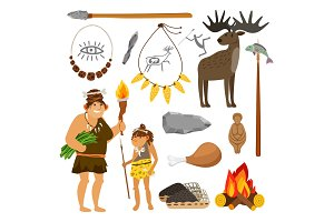 Stone age people and tools