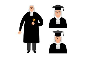 Richter. Cartoon judge vector illustration, legal court character in mantle isolated on white