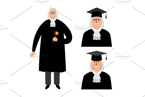Richter Cartoon Judge Vector Illustration Legal Court Character In Mantle Isolated On White