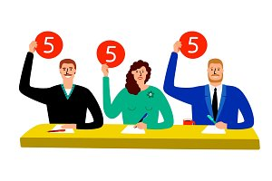 Quiz jury. Competition judge group sitting at table, estimate and show opinion scorecards vector illustration