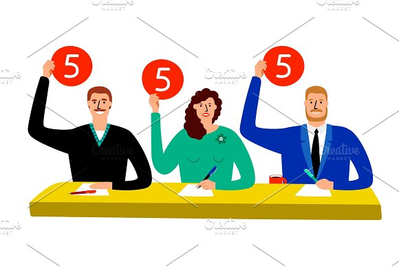 Quiz Jury Competition Judge Group Sitting At Table Estimate And Show Opinion Scorecards Vector Illustration